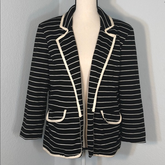 NY Collection Jackets & Blazers - NY Collection Black&White Striped Open Blazer NWOT